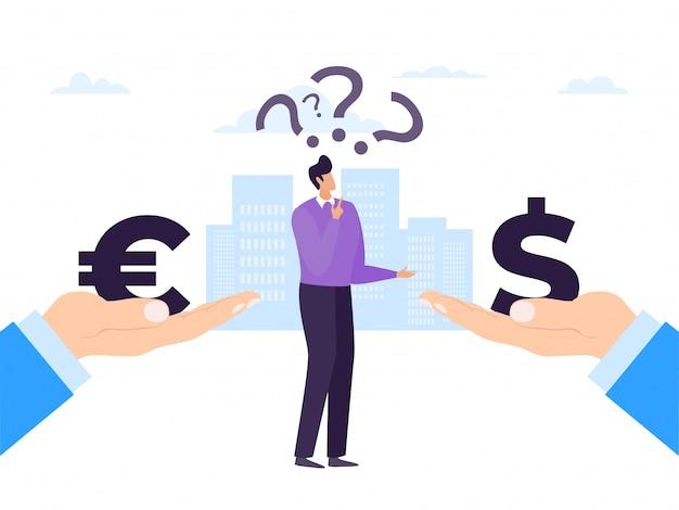 Moneda del negocio euro y dólar, ilustración. financiar dinero bancario, concepto de cambio de efectivo. personaje hombre