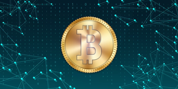 Moneda de oro bitcoin, moneda, criptomoneda.