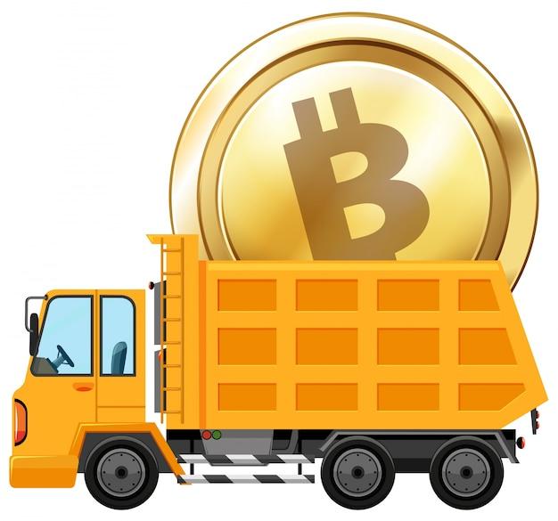 Moneda de oro en el camión de dumping