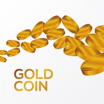 Moneda de oro cayendo