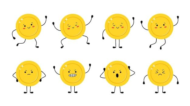 Moneda de oro linda en diferentes poses. moneda de dinero corre, salta, está feliz, triste, enojado. personajes de dibujos animados divertidos vector aislados sobre fondo blanco