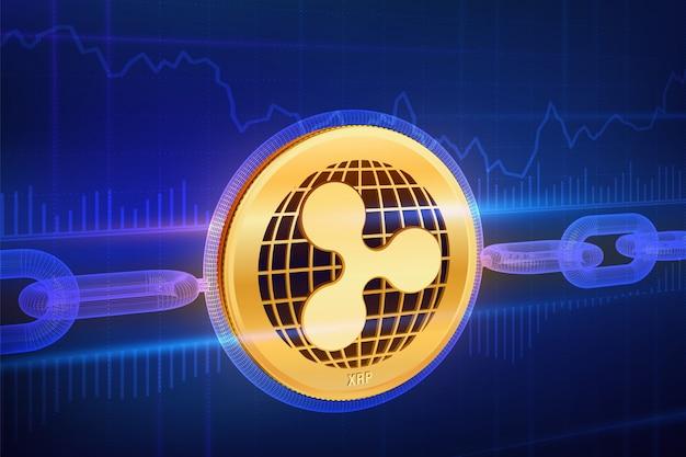 Moneda de oro ondulación física 3d con cadena de estructura metálica. concepto de blockchain.