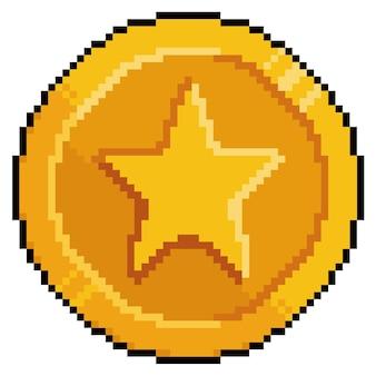 Moneda de oro de pixel art para bit de juego sobre fondo blanco.