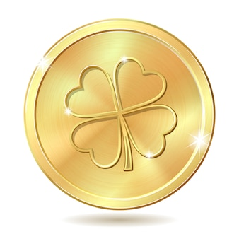 Moneda de oro con trébol.