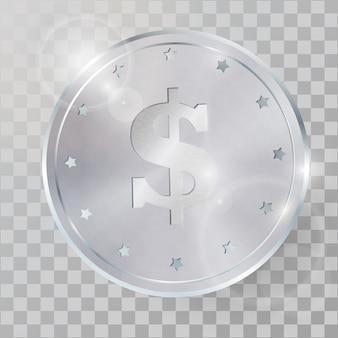 Moneda de plata 3d realista ilustración vectorial