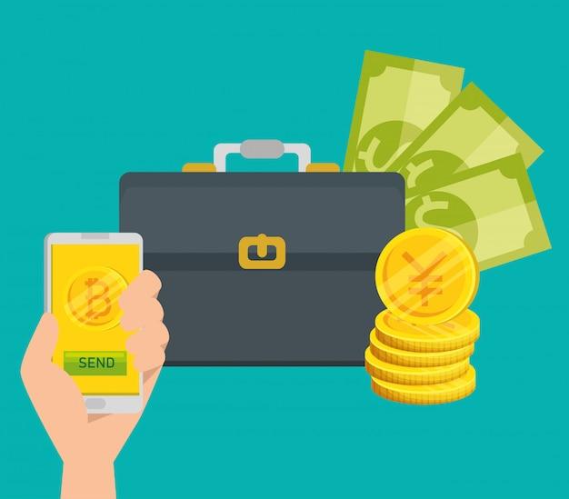 Moneda de teléfono inteligente y facturas de bitcoin