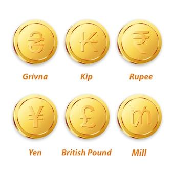 Moneda tradicional de oro vector