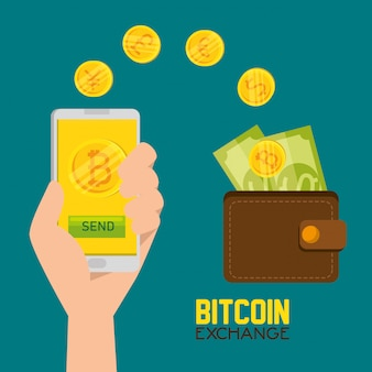 Moneda virtual de bitcoin y billetera con billetes