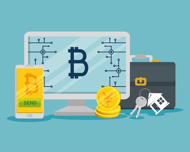Moneda virtual de bitcoin en la computadora y el teléfono inteligente
