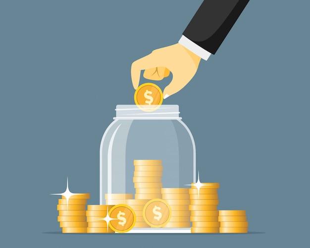 Monedas de ahorro de mano en la ilustración de vector de tarro de cristal. concepto de tarro de dinero. ahorre finanzas en el banco de cristalería.