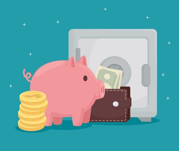 Monedas alcancía billetera con billetes y caja fuerte de dinero