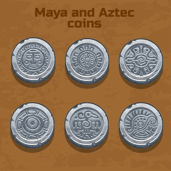 Monedas antiguas de plata aztecas y mayas, elemento del juego
