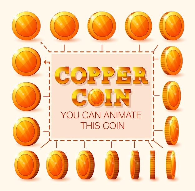 Monedas de cobre para animación paso a paso