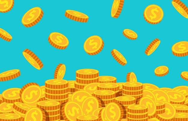 Monedas de dibujos animados cayendo. dólar de oro cayendo, fondo de lluvia de dinero. moneda voladora. tesoro, riqueza o concepto de vector de negocio exitoso. ilustración dólar dinero cayendo, moneda de oro de dibujos animados