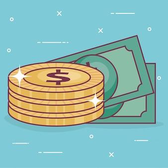 Monedas de dinero con billetes