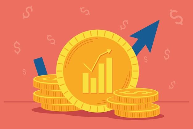 Monedas, dinero y estadísticas de flechas.