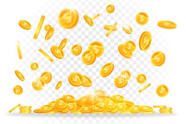 Monedas de dólar de oro llueven banner de finanzas con dinero brillante levitando sobre fondo transparente.
