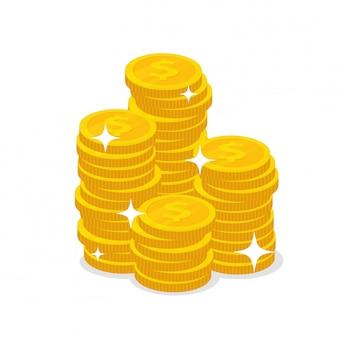 Las monedas de dólar que se apilan ilumina el brillo del aislante en blanco