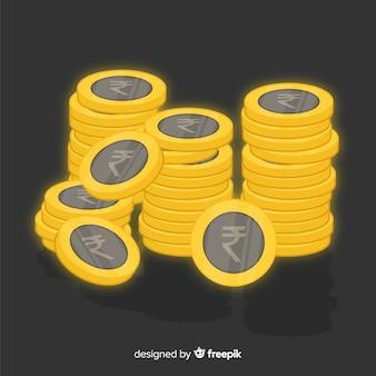 Monedas doradas de rupias indias apiladas