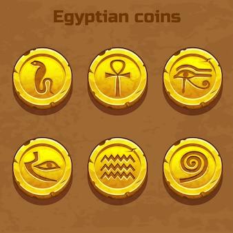 Monedas egipcias de oro viejo, elemento del juego Vector Premium