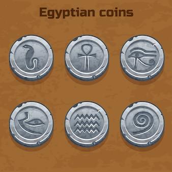 Monedas egipcias de plata antiguas, elemento del juego