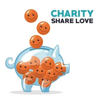 Monedas en forma de cara feliz flotando y depositando en dinero alcancía caridad compartir amor