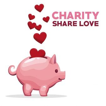 Monedas en forma corazones flotantes depositando en dinero hucha caridad compartir amor