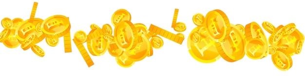Monedas de francos suizos cayendo. brillantes monedas chf dispersas. dinero de suiza. concepto de premio, riqueza o éxito positivo. ilustración vectorial.