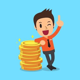 Monedas de hombre de negocios y dinero