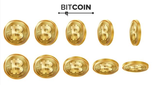 Monedas de oro 3d de bitcoin