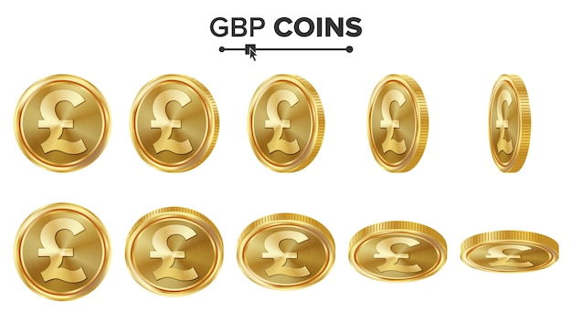 Monedas de oro 3d gbp