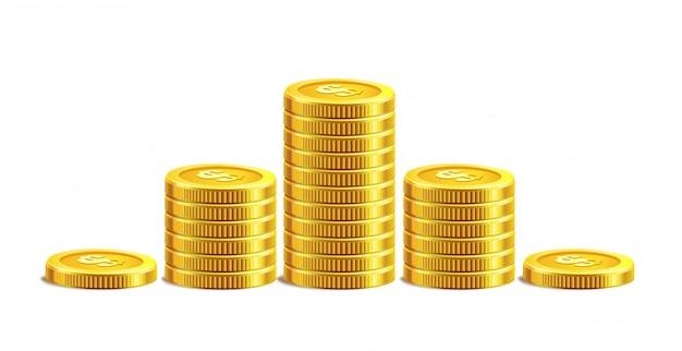 Monedas de oro aisladas en blanco