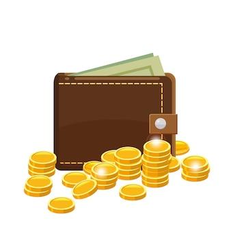 Monedas de oro y billetera con billetes de dólares en cartera