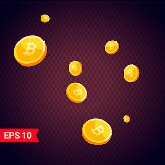 Monedas de oro bitcoin cayendo 3d realistas