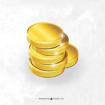 Monedas de oro brillante