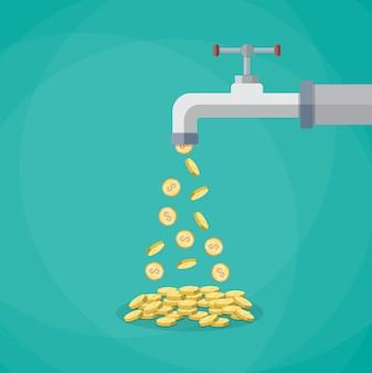 Monedas de oro caen del grifo de metal