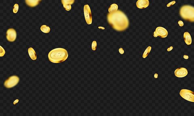 Monedas de oro casino invitación vip de lujo con confeti fiesta de celebración fondo de juego.
