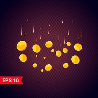 Monedas de oro cayendo realista