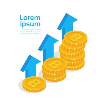 Las monedas de oro del concepto de crecimiento de bitcoins apilan la moneda criptográfica moderna del dinero digital