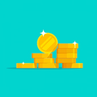 Monedas de oro dinero pila vector plano dibujos animados