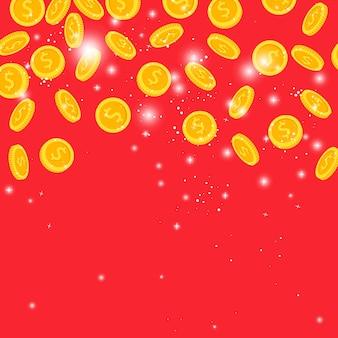 Monedas de oro lluvia en rojo
