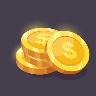 Monedas de oro con signo de dólar