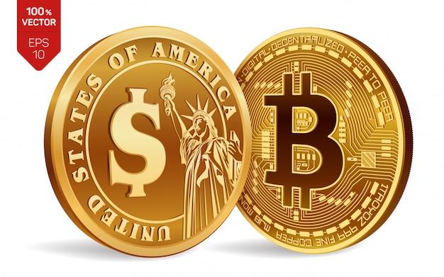 Monedas de oro con el símbolo de bitcoin y dólar aislado sobre fondo blanco.