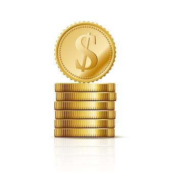 Monedas pila de dólares de oro, símbolo de negocios de finanzas, éxito rico
