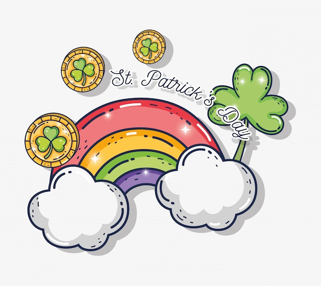 Monedas con plantas de tréboles y arcoiris con nubes.