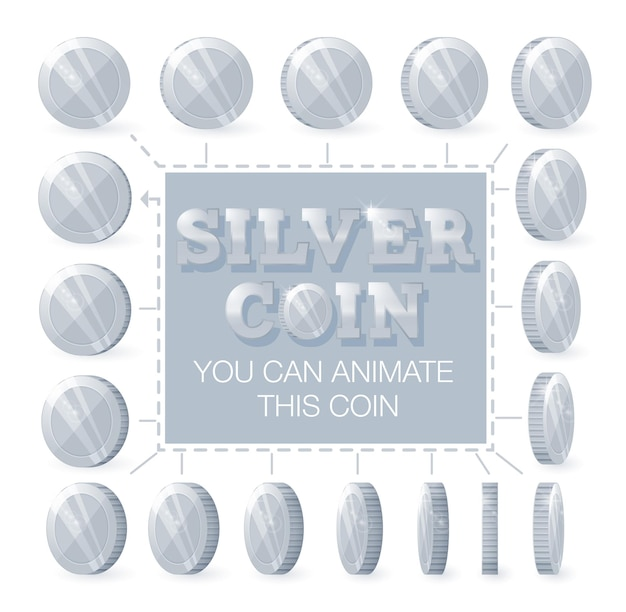 Monedas de plata para la animación paso a paso.