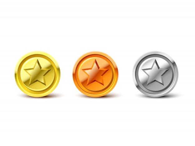 Monedas de plata, oro y bronce con estrella. pila de ilustración