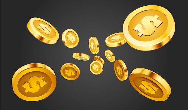 Monedas que caen, dinero que caen, monedas de oro voladoras, lluvia dorada.