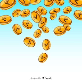Monedas de rupia india cayendo