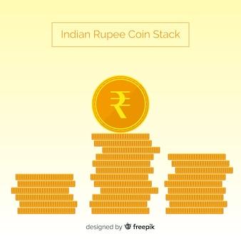 Monedas de rupias apiladas